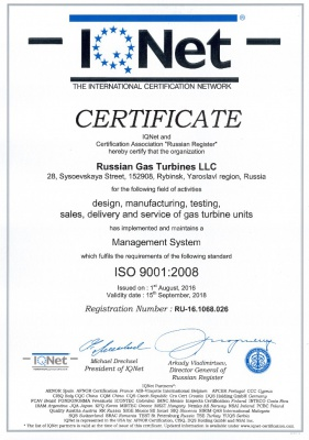 Certificate IQNET ISO 9001-2008